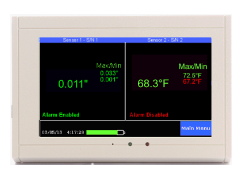 TV2 monitor displaying temp, rh, and pressure